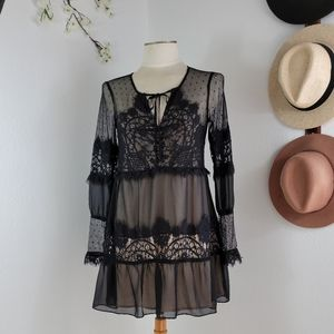 INA SHIFT SHEER BLACK LACE MINI DRESS SZ SMALL